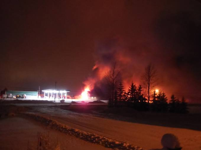 The gas station across the road caught on fire last night 12 18 2017. Shot just before we evacuated.