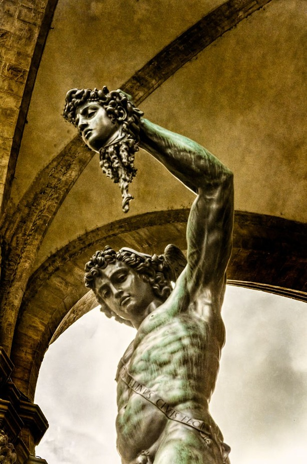Perseus by Benvenutto Cellini at the Loggia dei Lanzii from a different angle, Florence, Italy