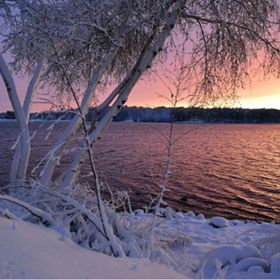 Lake Quannapowitt sunset after snowstorm