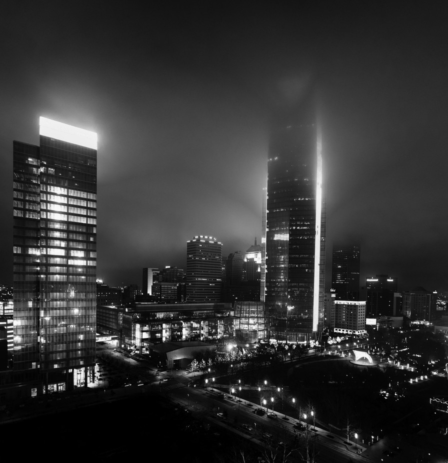 Downtown Oklahoma City - Black and White by dustingwin - Fog And City Photo Contest