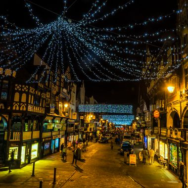 Christmas lights in Bridge Street Chester...