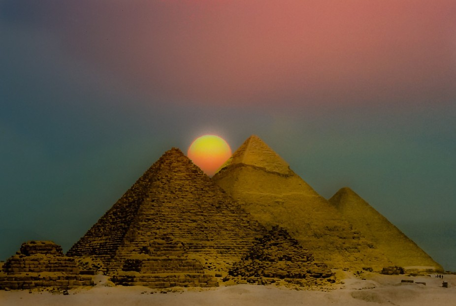 Both images where taken on film in 1985.  Great Pyramids and Sinai.  Composite in PS and LR