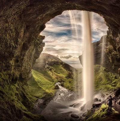 Waterfall behind the window