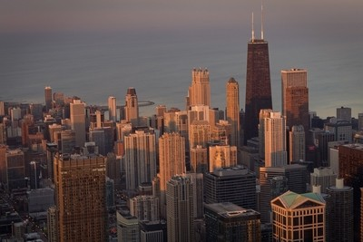 chicago willis tower view sunset