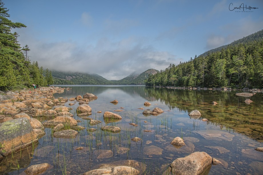 Taken at Jordan Pond in the Acadia National Park in Maine.  The North and Soung Bubble mountains ...