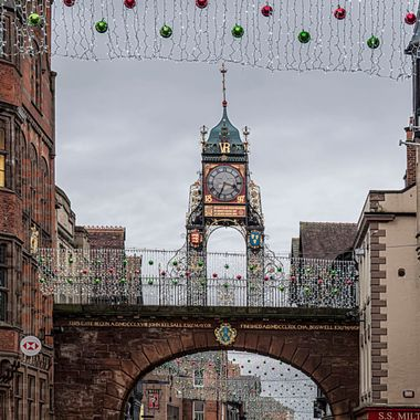 Festive Lights around the Chester East Gate