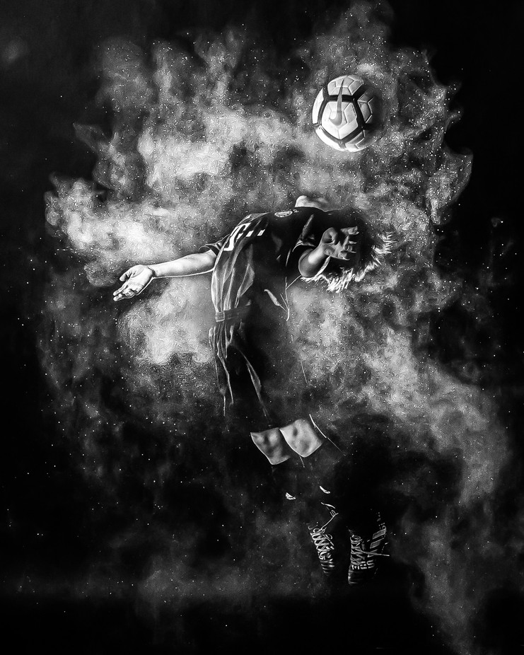 Owen - Action Soccer Portrait by SteveAlejandro7 - Black And White Compositions Photo Contest vol2