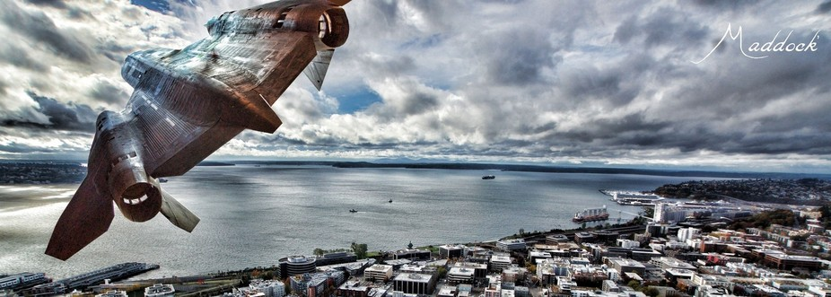 SR71 composite, inverted and put to a Seattle, Puget Sound background.