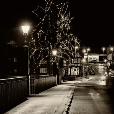 Christmas lights on the Old Dee Bridge at Chester.