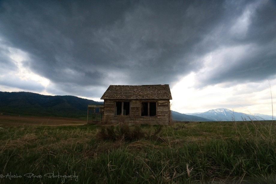We found this abandoned schoolhouse in the fields outside Swan Valley, Idaho.