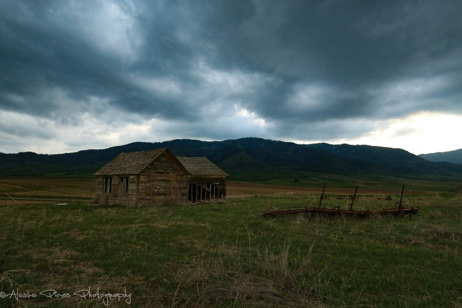 An old abandoned schoolhouse outside Swan Valley, Idaho.