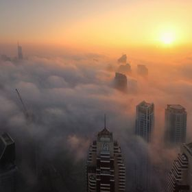 First time in 5 years in Dubai I see the sunset-illuminated fog and I consider myself so lucky to be able to capture this moment from an excellen...