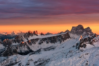 Blazing sunset on Dolomites