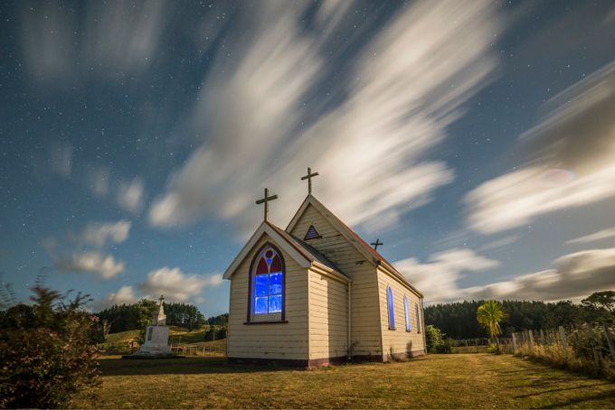 Church under moonlight by DeonHamilton - The Moving Clouds Photo Contest