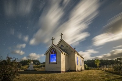 Church under moonlight