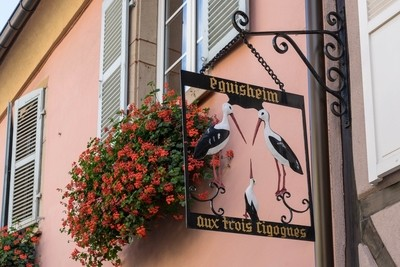 Sign of the Three Storks in Eguisheim in Haut-Rhin Alsace France
