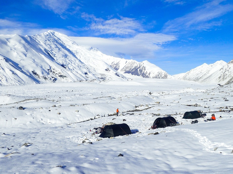 This picture was taken along side the Muldrow Glacier on Denali's Northeast face. A day ...