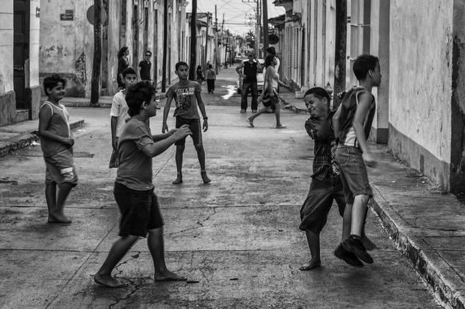 Trinidad - Cuba, boys were playing footbal, street photo