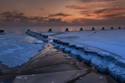 Frozen Beach Sunrise (Lake Michigan)