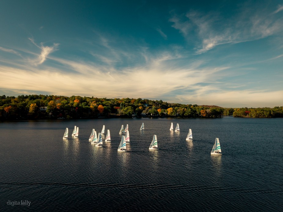 Boat races along the Mystic Lakes in the Fall.