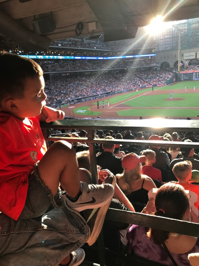 Aray enjoying his 1st Major League Baseball Gamr at Minute Made Park with Angels in the Outfield ...