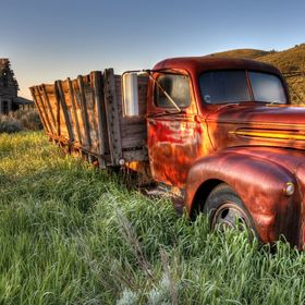 This old beautiful Ford farm truck sits under a Southeast Idaho spring sunrise on 05/28/2017.