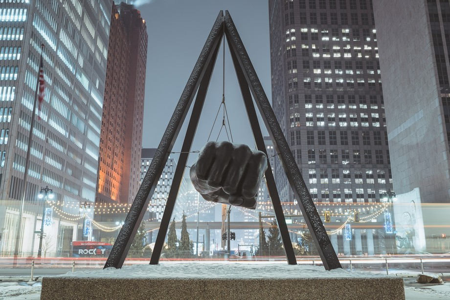 Cold winter night in the Motor City. This is Joe Louis Fist at the end of Woodward Ave.