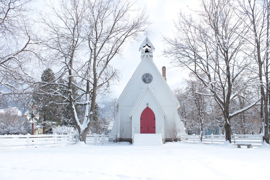 Beautiful Country Church Covered in Snow. Ascension School Camp & Conference Center  Cove...