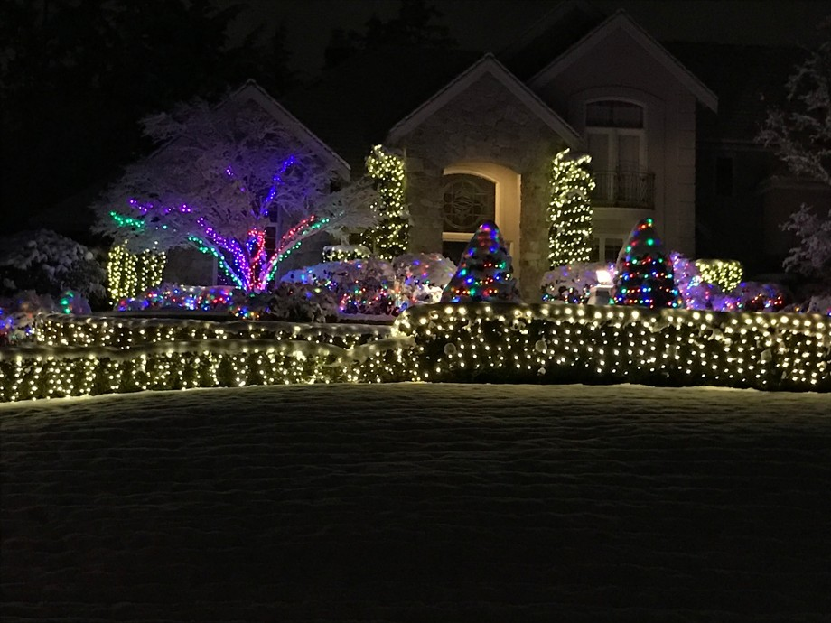 Christmas decorations on a house