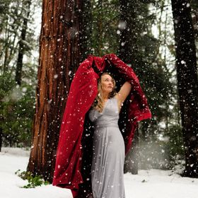 My beautiful girl friend Sarah was so brave to pose in this snowy forest with just a sexy silky dress on.