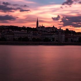 Summer evening sunset with long exposure reflections on the river danube