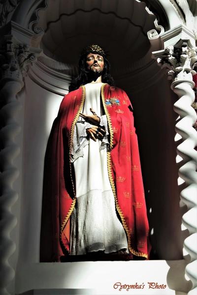 A wooden sculpture of Jesus