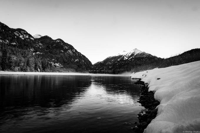 Squamish River on a cold crisp winter evening.