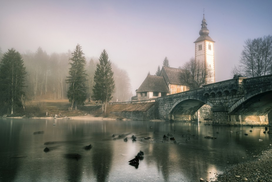 A church near lake Bohinj in a foggy day