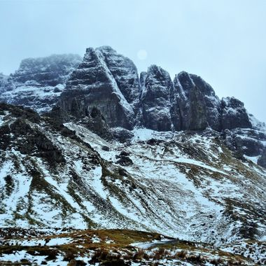 Old man of Storr hill walk in Wintery conditions