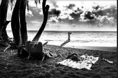 Black and white photography while lounging at Kahena beach, Big Island, HI