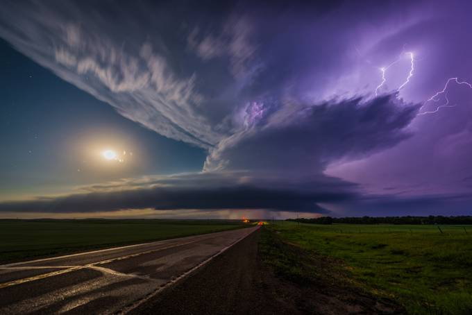 Full Moon, Clear Skies, and a Violent Supercell by furious_skies - A Storm Is Coming Photo Contest