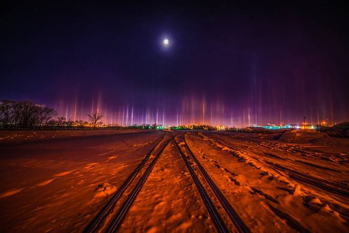 Light Pillars by furious_skies - I Love My City Photo Contest
