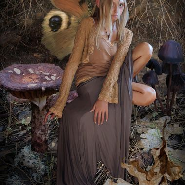 A mysteriously moody faerie alights atop a moonlit mushroom.