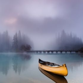Lonely canoe on Emerald lake, Canada