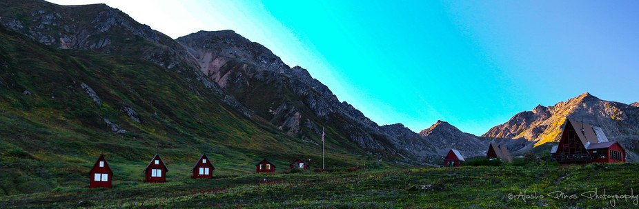 These are a summer time pic of the cabins you can rent in the Hatcher Pass recreational area.