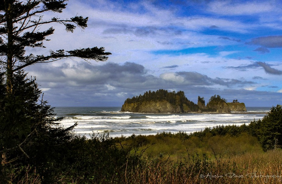 Many high waves off of La Push Beach, with James Island.