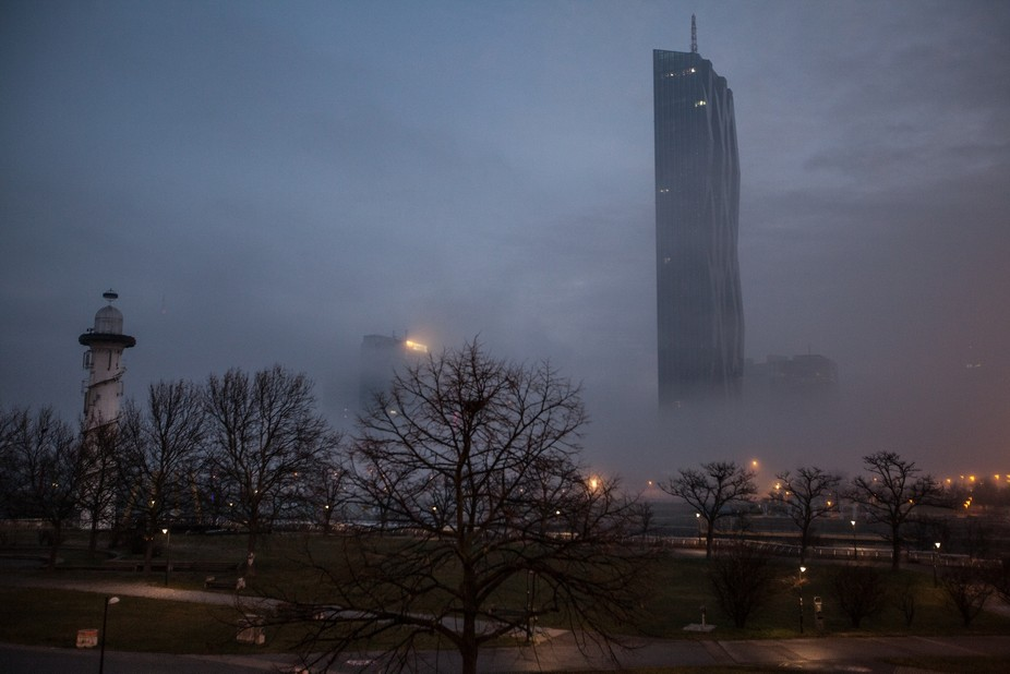 This Foto was Taken in the morning near the Danube in Vienna. It shows the DCTower a really impre...