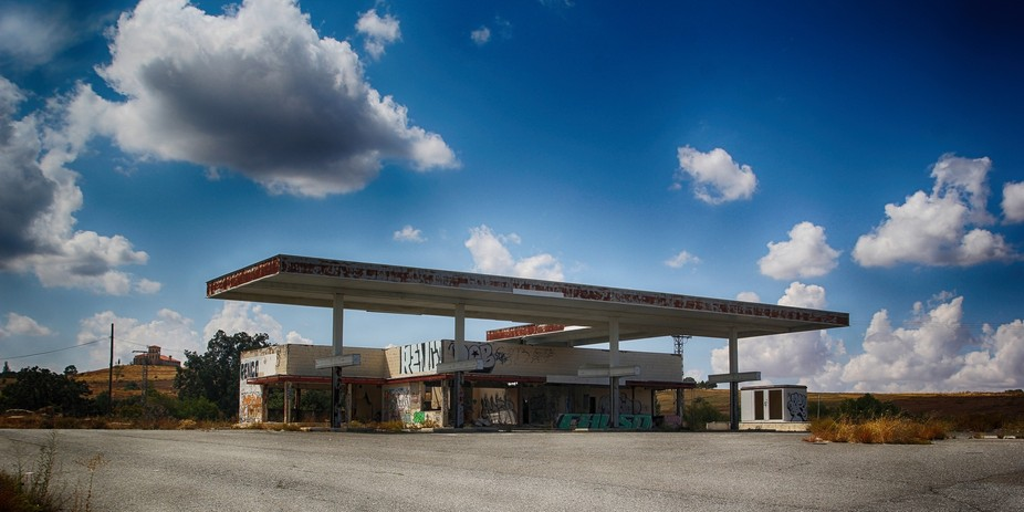 old gas station in Spain