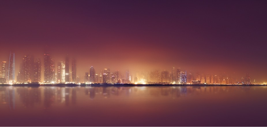 Dubai Marina in the fog