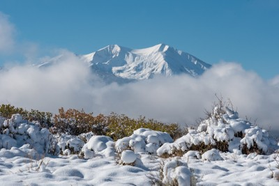 Mount Sopris in a skirt of fog