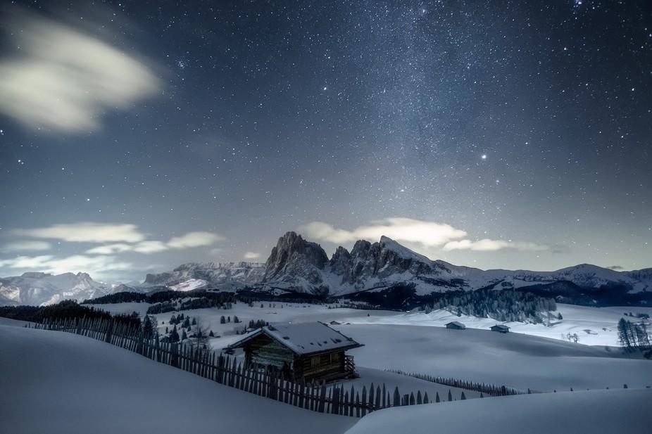 Stars above Dolomites