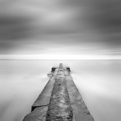 Pier in blur water