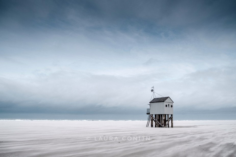 The little beach house at the west Frisian island Terschelling, The Netherlands.