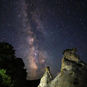 The natural towers of the Castle Gardens near Ten Sleep, Wyoming, lit by the starry heavens.